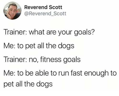 Dogs, Goals, and Memes: Reverend Scott  @Reverend_Scott  Trainer: what are your goals?  Me: to pet all the dogs  Trainer: no, fitness goals  Me: to be able to run fast enough to  pet all the dogs