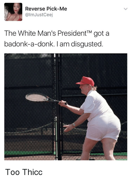 Blackpeopletwitter, Funny, and White: Reverse Pick-Me  @lmJustCeej  The White Man's PresidentTM got a  badonk-a-donk. I am disgusted