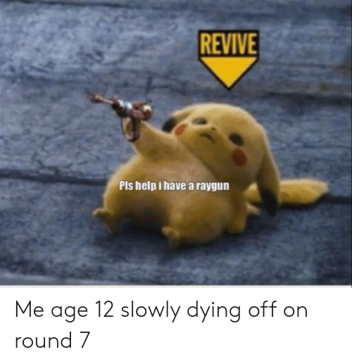 raygun: REVIVE  Pls help i have a raygun Me age 12 slowly dying off on round 7
