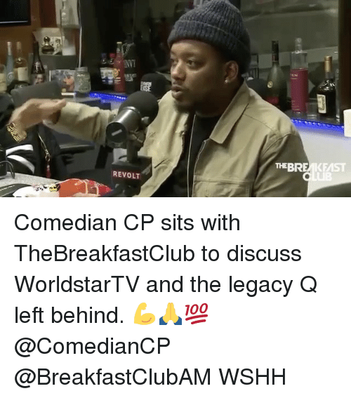 thebreakfastclub: REVOLT  THE BREMKFMST Comedian CP sits with TheBreakfastClub to discuss WorldstarTV and the legacy Q left behind. 💪🙏💯 @ComedianCP @BreakfastClubAM WSHH