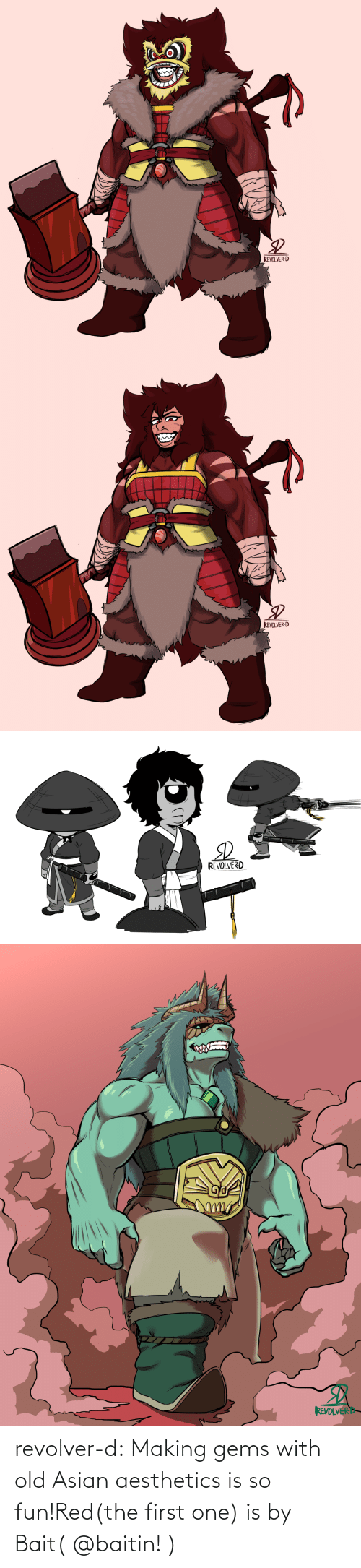 Asian: revolver-d:  Making gems with old Asian aesthetics is so fun!Red(the first one) is by Bait( @baitin! )