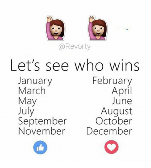 Memes, April, and 🤖: Revorty  Let's see who wins  February  January  March  April  May  June  July  August  September  October  November  December