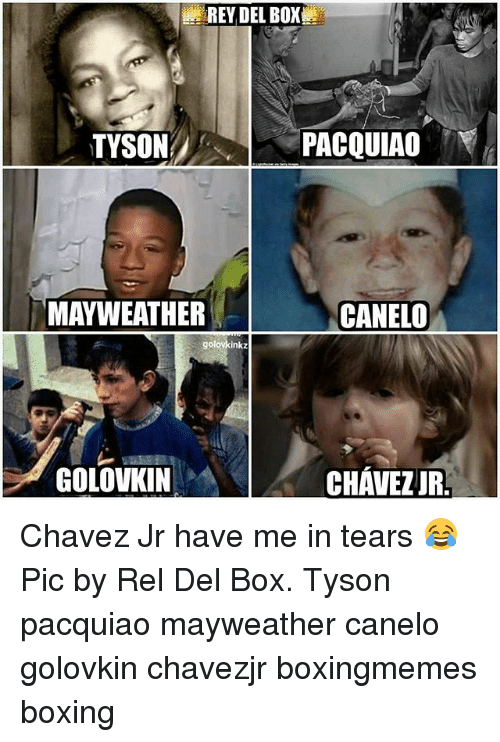 Memes, 🤖, and Canelo: REY DEL BOX  PACQUIAO  TYSON  MAYWEATHER  CANELO  golovkinkz  GOLOVKIN  CHAVEZ JR. Chavez Jr have me in tears 😂 Pic by Rel Del Box. Tyson pacquiao mayweather canelo golovkin chavezjr boxingmemes boxing
