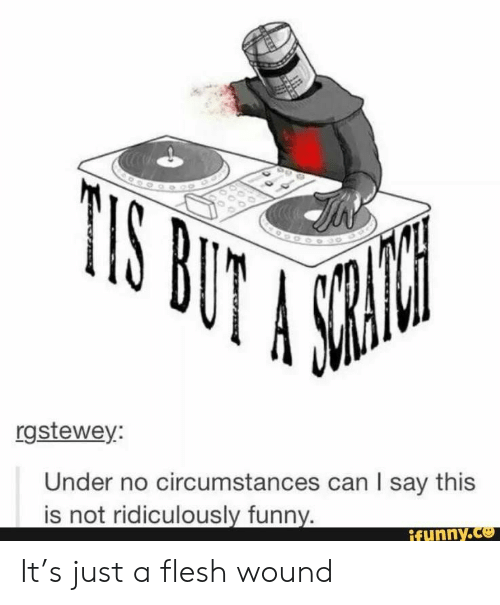 funny ifunny: rgstewey  Under no circumstances can I say this  is not ridiculously funny.  ifunny.ce It's just a flesh wound