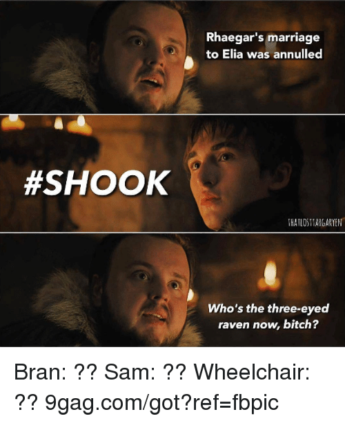 ravenous: Rhaegar's marriage  to Elia was annulled  #SHOOK  THATLOS THARGARYEN  Who's the three-eyed  raven now, bitch? Bran: ?? Sam: ?? Wheelchair: ?? 9gag.com/got?ref=fbpic