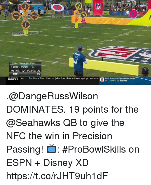 Cam Newton: RI  PRECISION PASSING  3 RUSSELL WILSON SEA  AFC TOTAL: 22 NFC TOTAL: 21  TIME:  1:00  EST  NFL Panthers' Cam Newton (shoulder) has arthroscopic procedure  2019 stralian Open Men's Semis  Fri. 3:30 AM ET ESrT .@DangeRussWilson DOMINATES.  19 points for the @Seahawks QB to give the NFC the win in Precision Passing!  📺: #ProBowlSkills on ESPN + Disney XD https://t.co/rJHT9uh1dF