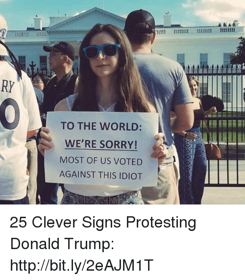 Donald Trump, Memes, and Sorry: RI  TO THE WORLD:  WE'RE SORRY!  MOST OF US VOTED  AGAINST THIS IDIOT 25 Clever Signs Protesting Donald Trump: http://bit.ly/2eAJM1T
