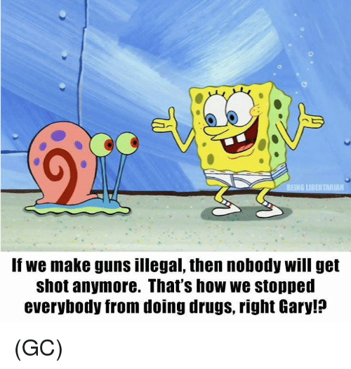 Drugs, Guns, and Memes: RIAN  If we make guns illegal, then nobody will get  shot anymore. That's how we stopperd  everybody from doing drugs, right Gary!? (GC)