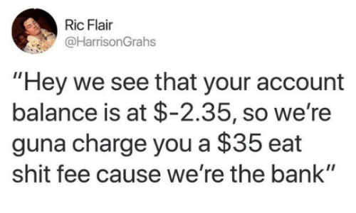 "Eat Shit: Ric Flair  @HarrisonGrahs  ""Hey we see that your account  balance is at $-2.35, so we're  guna charge you a $35 eat  shit fee cause we're the bank"""