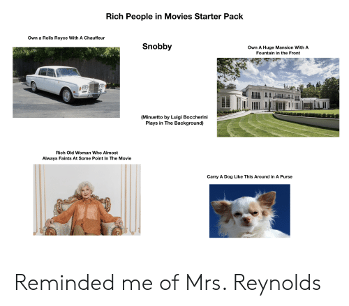 chauffeur: Rich People in Movies Starter Pack  Own a Rolls Royce With A Chauffeur  Snobby  Own A Huge Mansion With A  Fountain in the Front  (Minuetto by Luigi Boccherini  Plays in The Background)  Rich Old Woman Who Almost  Always Faints At Some Point In The Movie  Carry A Dog Like This Around in A Purse Reminded me of Mrs. Reynolds