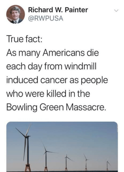 bowling green: Richard W. Painter  @RWPUSA  True fact:  As many Americans die  each day from windmill  induced cancer as people  who were killed in the  Bowling Green Massacre.