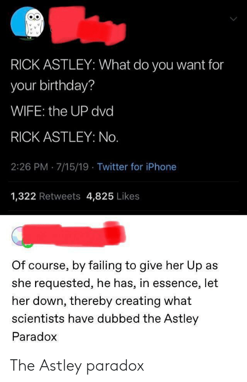 give her: RICK ASTLEY: What do you want for  your birthday?  WIFE: the UP dvd  RICK ASTLEY: No.  2:26 PM 7/15/19 Twitter for iPhone  1,322 Retweets 4,825 Likes  Of course, by failing to give her Up as  she requested, he has, in essence, let  her down, thereby creating what  scientists have dubbed the Astley  Paradox The Astley paradox