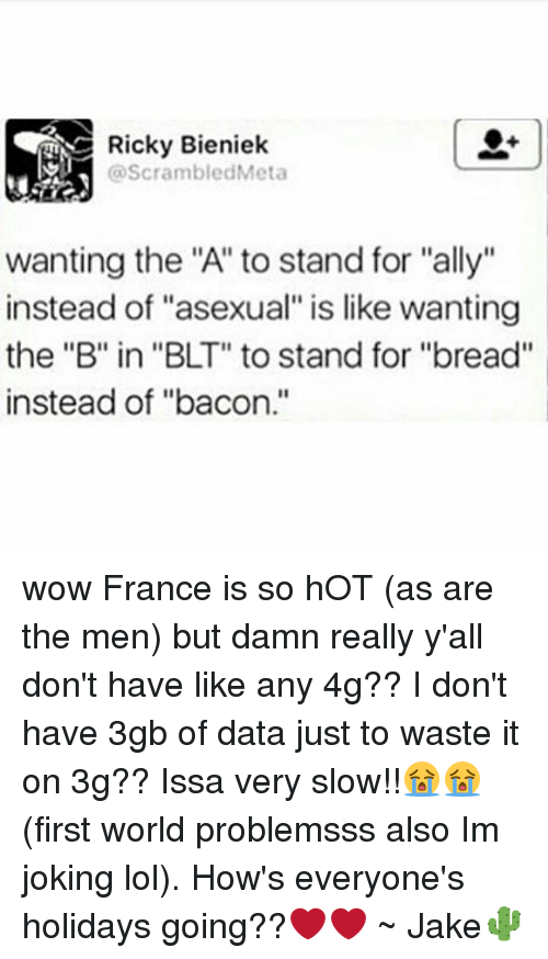 "Lol, Memes, and Wow: Ricky Bieniek  @ScrambledMeta  wanting the ""A"" to stand for ""ally""  instead of ""asexual"" is like wanting  the ""B"" in ""BLT"" to stand for ""bread""  instead of ""bacon."" wow France is so hOT (as are the men) but damn really y'all don't have like any 4g?? I don't have 3gb of data just to waste it on 3g?? Issa very slow!!😭😭 (first world problemsss also Im joking lol). How's everyone's holidays going??❤❤ ~ Jake🌵"
