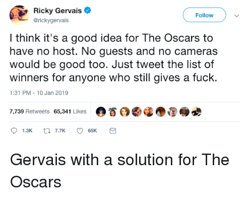 Ricky Gervais: Ricky Gervais  @rickygervais  Followv  l think it's a good idea for The Oscars to  have no host. No guests and no cameras  would be good too. Just tweet the list of  winners for anyone who still gives a fuck.  1:31 PM-10 Jan 2019  7,739 Retweets 65,341 Likes  。眷 Gervais with a solution for The Oscars