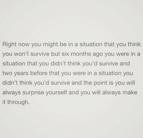 You Wont: Right now you might be in a situation that you think  you won't survive but six months ago you were in a  situation that you didn't think you'd survive and  two years before that you were in a situation you  didn't think you'd survive and the point is you will  always surprise yourself and you will always make  it through.