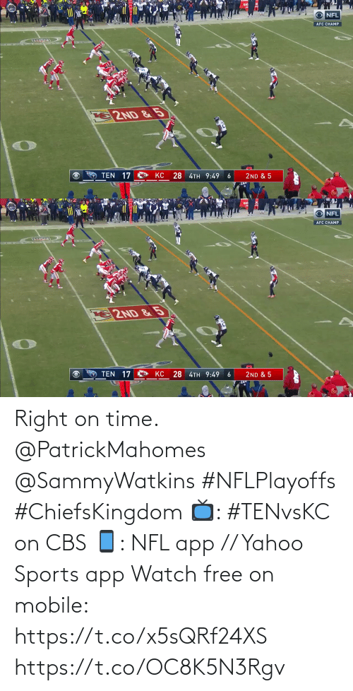 CBS: Right on time. @PatrickMahomes @SammyWatkins #NFLPlayoffs #ChiefsKingdom  📺: #TENvsKC on CBS 📱: NFL app // Yahoo Sports app Watch free on mobile: https://t.co/x5sQRf24XS https://t.co/OC8K5N3Rgv