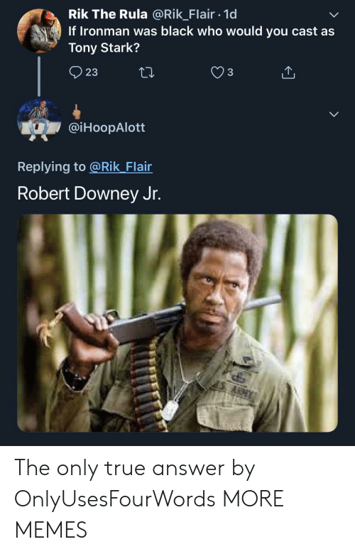 Robert Downey Jr.: Rik The Rula @Rik_Flair 1d  If Ironman was black who would you cast as  Tony Stark?  23  @iHoopAlott  Replying to @Rik Flair  Robert Downey Jr. The only true answer by OnlyUsesFourWords MORE MEMES