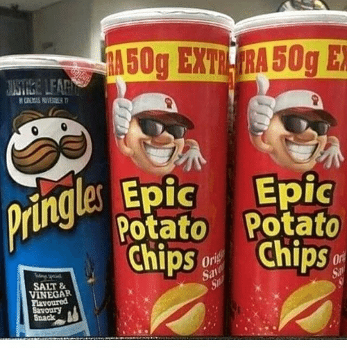 Memes, Potato, and 🤖: ringles Epic Epic  tt Potato  Chips Chips  Sal  SALT &  VINEGAR  havoured  Savoury  Snack