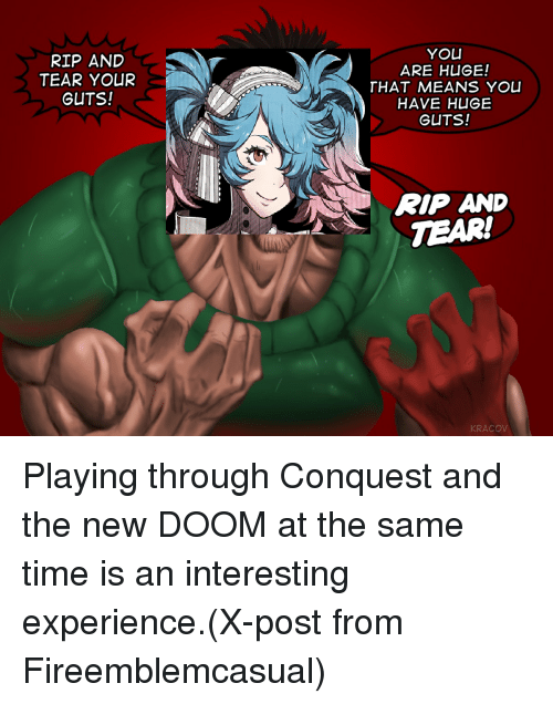 Mean, Meaning, and Time: RIP AND  TEAR YOUR  GUTS!  YOU  ARE HUGE!  THAT MEANS YOU  HAVE HUGE  GUTS!  RIP AND  TEAR!  KRACOV Playing through Conquest and the new DOOM at the same time is an interesting experience.(X-post from Fireemblemcasual)