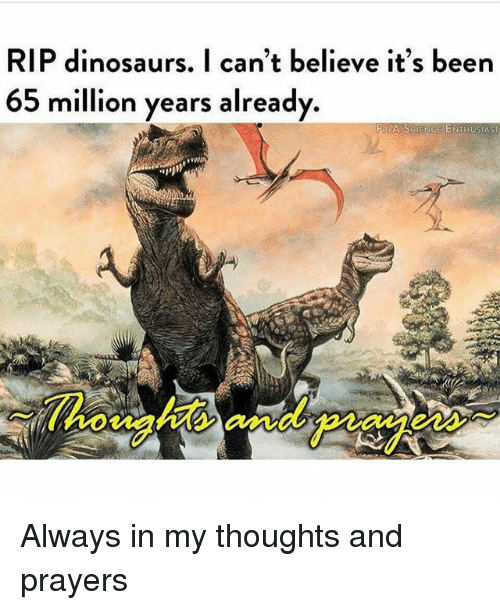 Dinosaurs, Science, and Dank Memes: RIP dinosaurs. I can't believe it's been  65 million years already  8/A-SCIENCE ENTHUSIAST  howights and praes Always in my thoughts and prayers