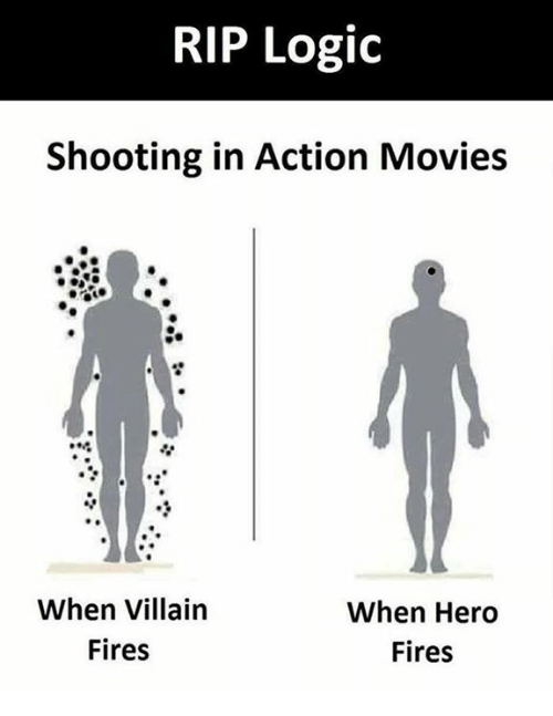 Logic, Memes, and Movies: RIP Logic  Shooting in Action Movies  When Villain  Fires  When Hero  Fires