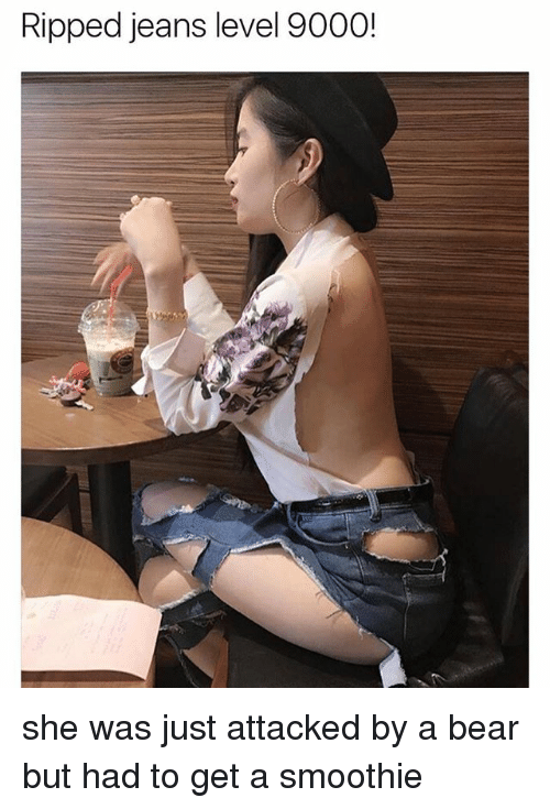 Memes, Bear, and 🤖: Ripped jeans level 9000! she was just attacked by a bear but had to get a smoothie