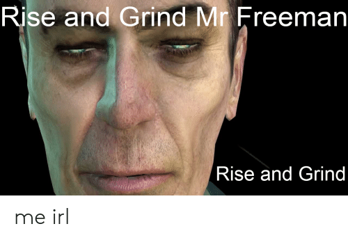 rise and grind: Rise and Grind Mr Freeman  Rise and Grind me irl