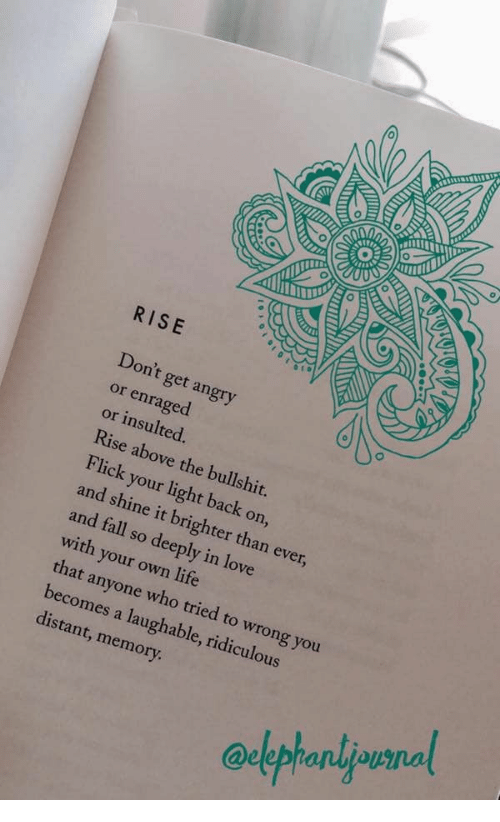 Rise Above: RISE  Don't get angry  or enraged  or insulted.  Rise above the bullshit.  Flick your light back on,  and shine it brighter than ever,  and fall so deeply in love  with your own life  that anyone who tried to wrong you  becomes a laughable, ridiculous  distant, memory
