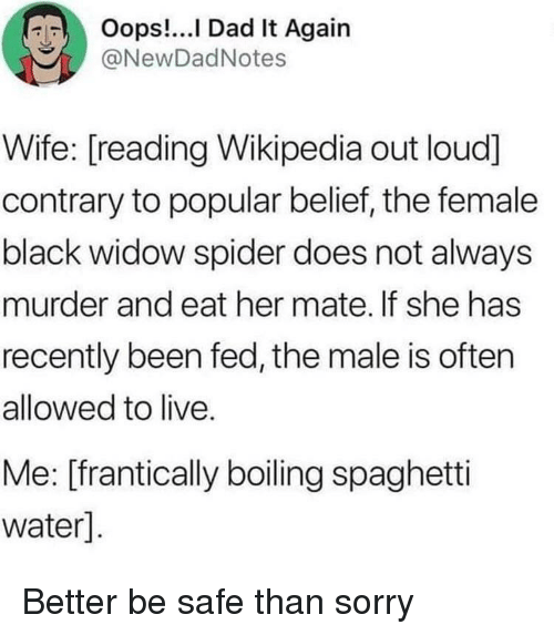 Black Widow: RIT  Oops I Dad It Again  @NewDadNotes  Wife: [reading Wikipedia out loud]  contrary to popular belief, the female  black widow spider does not always  murder and eat her mate. If she has  recently been fed, the male is often  allowed to live.  Me: [frantically boiling spaghetti  water] Better be safe than sorry