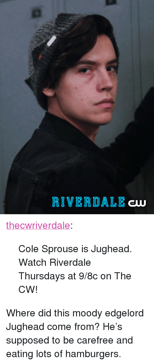 """riverdale: RIVERDALE  aw <p><a href=""""http://thisisriverdale.com/post/155825236850/cole-sprouse-is-jughead-watch-riverdale-thursdays"""" class=""""tumblr_blog"""">thecwriverdale</a>:</p>  <blockquote><p>Cole Sprouse is Jughead. Watch Riverdale Thursdays at 9/8c on The CW!<br/></p></blockquote>  <p>Where did this moody edgelord Jughead come from? He&rsquo;s supposed to be carefree and eating lots of hamburgers.</p>"""