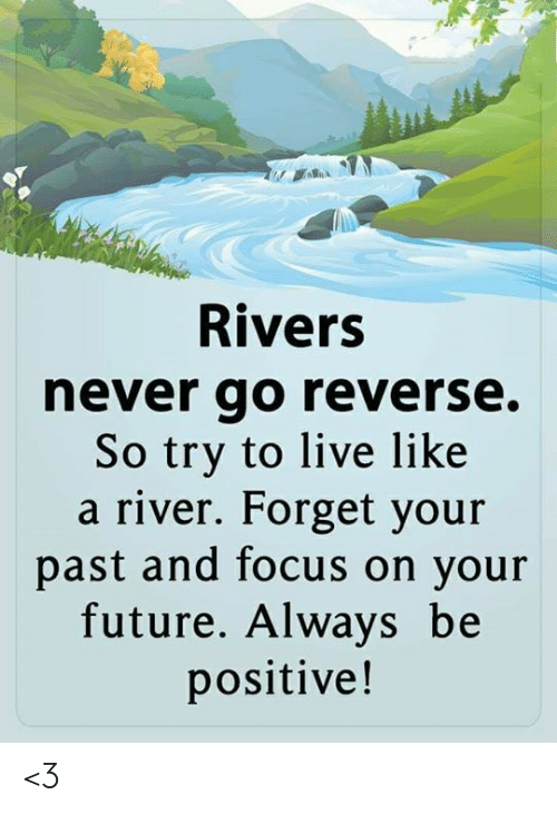 Be Positive: Rivers  never go reverse.  So try to live like  a river. Forget your  past and focus on your  future. Always be  positive! <3