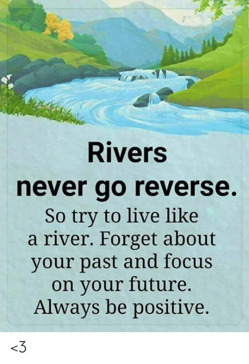 Be Positive: Rivers  never go reverse.  So try to live like  a river. Forget about  your past and focus  on your future.  Always be positive. <3