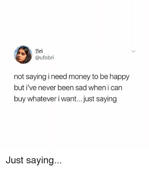 Memes, Money, and Happy: rl  @ufobri  not saying ineed money to be happy  but i've never been sad when i can  buy whatever i want...just saying Just saying...