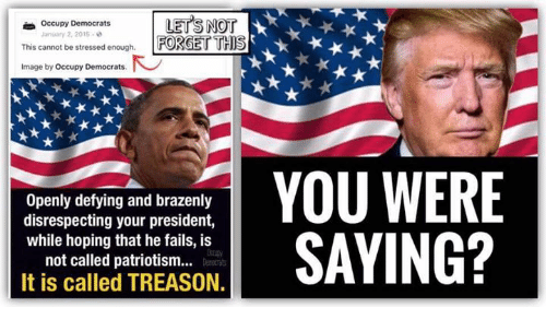 Memes, Image, and Patriotism: rLETS NOT  This cannot be stressed enough FORGET THS  Occupy Democrats  January 2, 2015-  Image by Occupy Democrats  Openly defying and brazenly  disrespecting your president,  while hoping that he fails, is  not called patriotism..  It is called TREASON.  YOU WERE  SAYING?