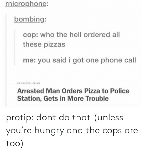 protip: rnicrophone:  bombing:  cop: who the hell ordered all  these pizzas  me: you said i got one phone call  NEWSFEED CRIME  Arrested Man Orders Pizza to Police  Station, Gets in More Trouble protip: dont do that (unless you're hungry and the cops are too)