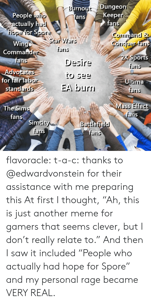 "Mass Effect: rnout Dunge  fans  Keep  fa  People yno  ctually h  nope  StarWars  Wingo  Coriciuer ar  Commafnde  TErris  Desire  Sports  aris  ranns  Advo  for fair lab  Ultima  EA burn  rainns  Mass Effect  The Sim  fans  rar  Si  rel  irs flavoracle:  t-a-c: thanks to @edwardvonstein for their assistance with me preparing this  At first I thought, ""Ah, this is just another meme for gamers that seems clever, but I don't really relate to.""  And then I saw it included ""People who actually had hope for Spore"" and my personal rage became VERY REAL."