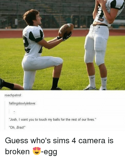 "Memes, Camera, and Guess: roachpatrol  fallingslowlyinlove  ""Josh, I want you to touch my balls for the rest of our lives.""  ""Oh, Brad! Guess who's sims 4 camera is broken 😍-egg"