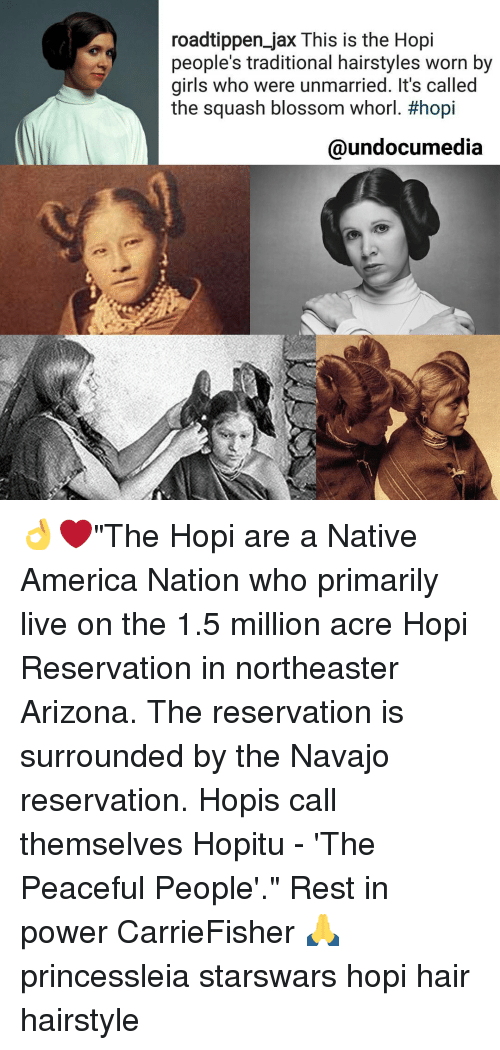 "Memes, Arizona, and Hairstyles: roadtippen jax This is the Hopi  people's traditional hairstyles worn by  girls who were unmarried. It's called  the squash blossom Whorl. #hopi  @undocumedia 👌❤""The Hopi are a Native America Nation who primarily live on the 1.5 million acre Hopi Reservation in northeaster Arizona. The reservation is surrounded by the Navajo reservation. Hopis call themselves Hopitu - 'The Peaceful People'."" Rest in power CarrieFisher 🙏 princessleia starswars hopi hair hairstyle"