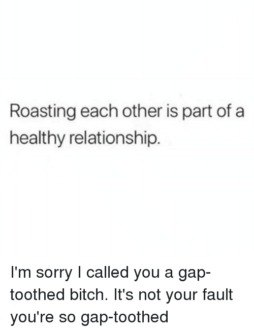 Bitch, Sorry, and Girl Memes: Roasting each other is part of a  healthy relationship. I'm sorry I called you a gap-toothed bitch. It's not your fault you're so gap-toothed