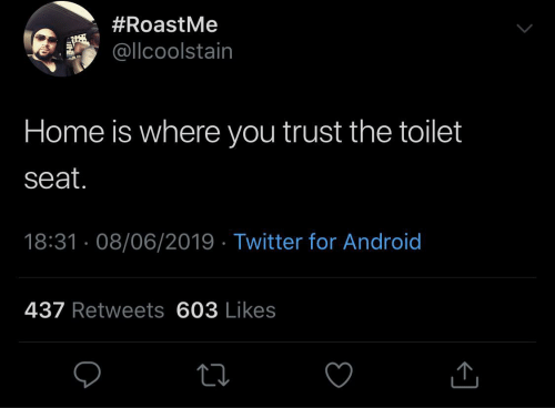 seat:  #RoastMe  @llcoolstain  Home is where you trust the toilet  seat.  18:31 · 08/06/2019 · Twitter for Android  437 Retweets 603 Likes