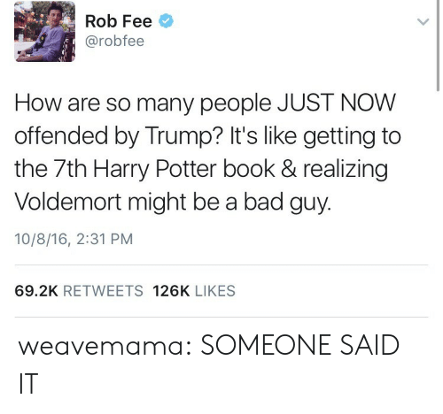 harry potter book: Rob Fee  @robfee  How are so many people JUST NOW  offended by Trump? It's like getting to  the 7th Harry Potter book & realizing  Voldemort might be a bad guy.  10/8/16, 2:31 PM  69.2K RETWEETS 126K LIKES weavemama: SOMEONE SAID IT