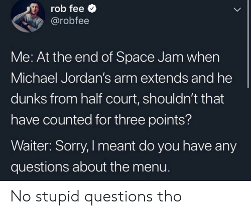 Jordans: rob fee  @robfee  LL  Me: At the end of Space Jam when  Michael Jordan's arm extends and he  dunks from half court, shouldn't that  have counted for three points?  Waiter: Sorry, I meant do you have any  questions about the menu. No stupid questions tho