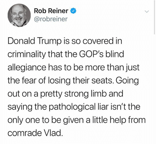 Donald Trump, Help, and Trump: Rob Reiner  @robreiner  Donald Trump is so covered in  criminality that the GOP's blind  allegiance has to be more than just  the fear of losing their seats. Going  out on a pretty strong limb and  saying the pathological liar isn't the  only one to be given a little help from  comrade Vlad