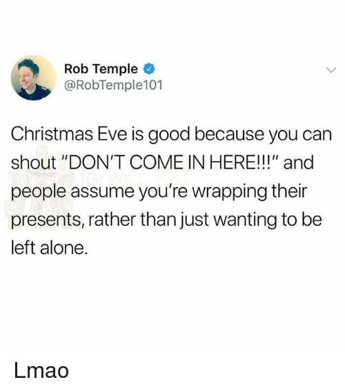 """Being Alone, Christmas, and Lmao: Rob Temple  @RobTemple101  Christmas Eve is good because you can  shout """"DON'T COME IN HERE!!!"""" and  people assume you're wrapping their  presents, rather than just wanting to be  left alone. Lmao"""
