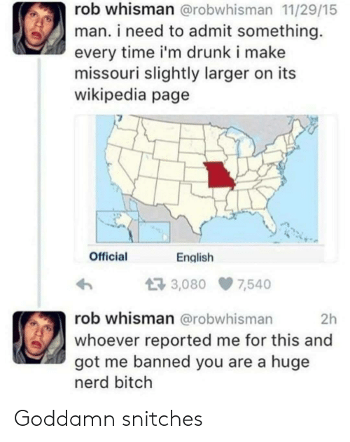 Missouri: rob whisman @robwhisman 11/29/15  man. i need to admit something  every time i'm drunk i make  missouri slightly larger on its  wikipedia page  Official  English  3,080 7,540  rob whisman @robwhisman  2h  whoever reported me for this and  got me banned you are a huge  nerd bitch Goddamn snitches