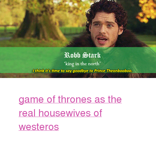 """Robb Stark: Robb Stark  king in the north'  Ithink it's time to say goodbye to Prince Theonbooboo <blockquote><div><a href=""""http://theonnojoy.tumblr.com/tagged/realgot"""">game of thrones as the real housewives of westeros</a></div></blockquote>"""