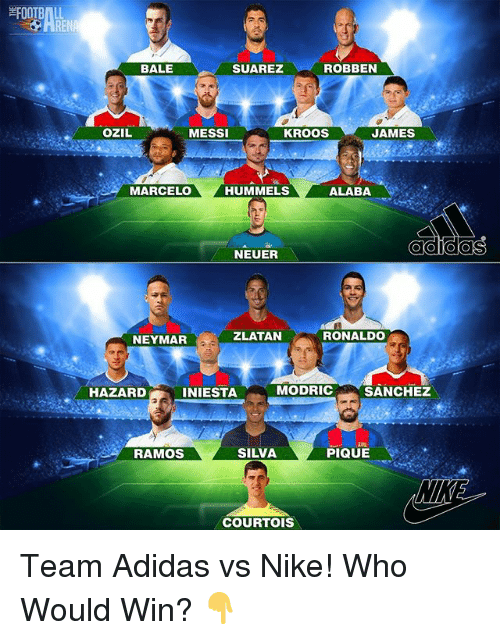 Adidas, CoCo, and Memes: ROBBEN  BALE  SUAREZ  OZIL  MESSI  KROOS  JAMES  MARCELO  HUMMELS  ALABA  O CO COCO  NEUER  RONALDO  ZLATAN  NEYMAR  MODRIC  SANCHEZ  HAZARD  INIESTA  SILVA  PIQUE  RAMOS  COURTOIS Team Adidas vs Nike! Who Would Win? 👇