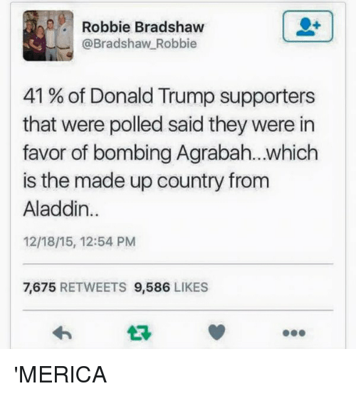 Agrabah: Robbie Bradshaw  @Bradshaw Robbie  41 of Donald Trump supporters  that were polled said they were in  favor of bombing Agrabah...which  is the made up country from  Aladdin  12/18/15, 12:54 PM  7.675  RETWEETS  9,586  LIKES 'MERICA