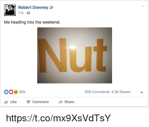 Robert Downey Jr: Robert Downey Jr  1 hr S  Me heading into the weekend.  ut  60k  555 Comments 4.3k Shares  1台Like  -  Comment  Share https://t.co/mx9XsVdTsY