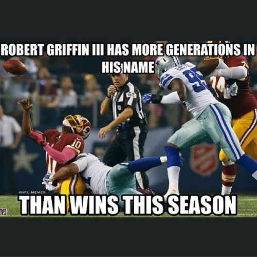 NFL: ROBERT GRIFFIN III HAS MORE GENERATIONS IN  HIS NAME  THAN WINS THIS SEASON
